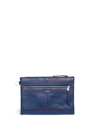Main View - Click To Enlarge - BALENCIAGA - 'Clip' contrast stitch medium leather zip pouch