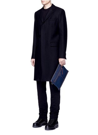 Figure View - Click To Enlarge - Balenciaga - 'Clip' contrast stitch medium leather zip pouch