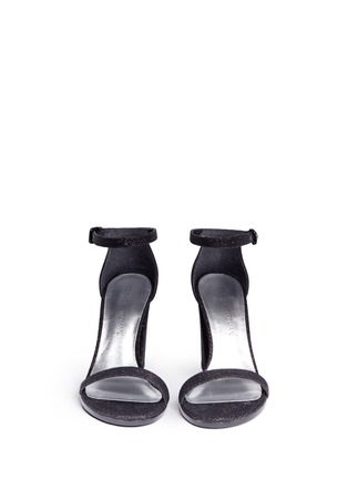 Front View - Click To Enlarge - STUART WEITZMAN - 'Walk Way' glitter mesh sandals