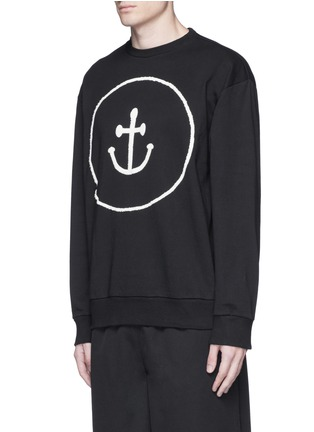 Front View - Click To Enlarge - Insted We Smile - Smiley face anchor appliqué sweatshirt