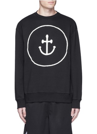 Main View - Click To Enlarge - Insted We Smile - Smiley face anchor appliqué sweatshirt