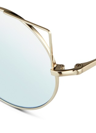 Detail View - Click To Enlarge - Matthew Williamson - 'Playful' wire cat ear round mirror sunglasses
