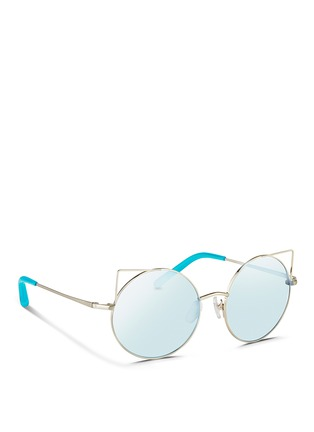 Figure View - Click To Enlarge - Matthew Williamson - 'Playful' wire cat ear round mirror sunglasses
