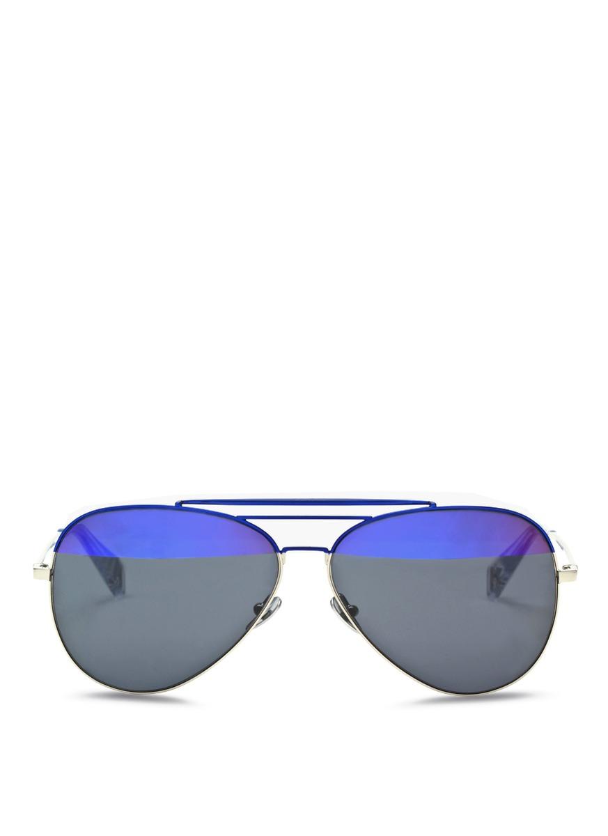 'Raze' coated metal aviator sunglasses