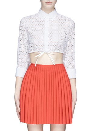 Main View - Click To Enlarge - Alaïa - Broderie anglaise drawstring hem cropped shirt