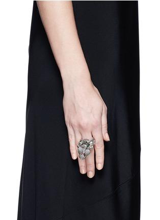 Figure View - Click To Enlarge - Aishwarya - Diamond pavé emerald drop bird ring