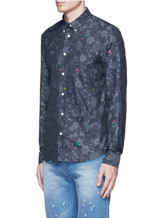 Front View - Click To Enlarge - KENZO - Slim fit alphabet jacquard cotton shirt