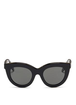 Main View - Click To Enlarge - VICTORIA BECKHAM - 'Layered Cat' inset acetate colourblock sunglasses