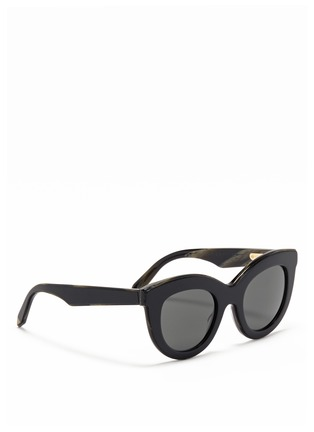 Figure View - Click To Enlarge - VICTORIA BECKHAM - 'Layered Cat' inset acetate colourblock sunglasses