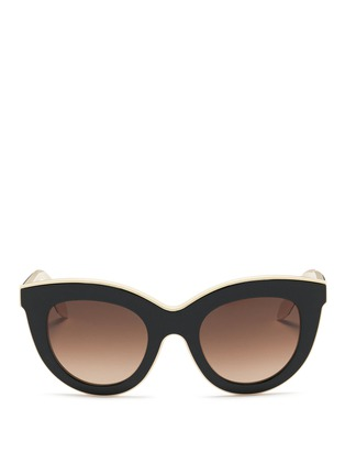 Main View - Click To Enlarge - Victoria Beckham - 'Layered Cat' inset acetate colourblock sunglasses