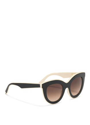 Figure View - Click To Enlarge - Victoria Beckham - 'Layered Cat' inset acetate colourblock sunglasses