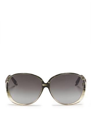 Main View - Click To Enlarge - VICTORIA BECKHAM - 'Large Fine Oval' stripe acetate oversize sunglasses