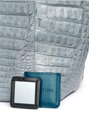Detail View - Click To Enlarge - CELESTINA BAGS - 'Perez Mini' Caiman crocodile leather tote
