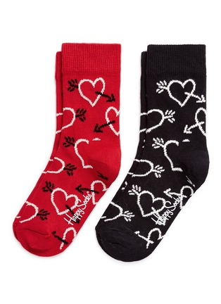 Main View - Click To Enlarge - Happy Socks - Heart and arrow kids socks 2-pair pack