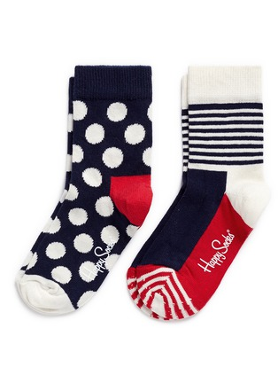 Main View - Click To Enlarge - Happy Socks - Nautical stripe and polka dot kids socks 2-pair pack