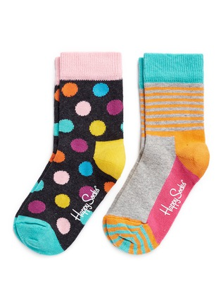 Main View - Click To Enlarge - Happy Socks - Colourblock stripe and polka dot kids socks 2-pair pack