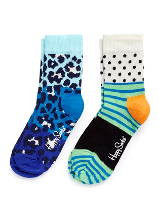Main View - Click To Enlarge - Happy Socks - Leopard and mix pattern kids socks 2-pair pack