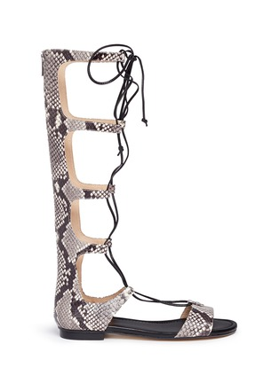 Main View - Click To Enlarge - Michael Kors - 'Sofia' python embossed leather gladiator sandals