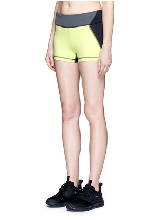 Front View - Click To Enlarge - Alala - 'Edge Hot' neon colourblock bike shorts