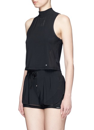 Front View - Click To Enlarge - Koral - Punch' perforated performance crop top
