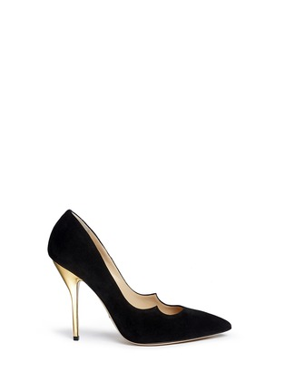Main View - Click To Enlarge - Paul Andrew - 'Zenadia' 24k gold dipped heel suede pumps