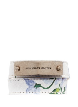 Main View - Click To Enlarge - Alexander McQueen - Logo metal plate floral print leather bracelet