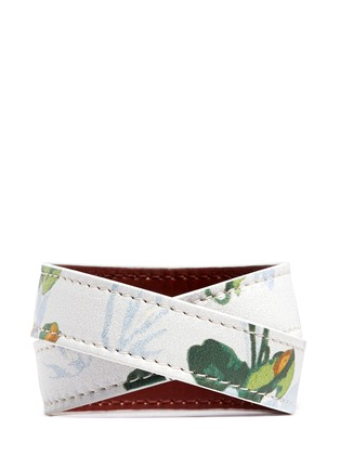 Figure View - Click To Enlarge - Alexander McQueen - Logo metal plate floral print leather bracelet
