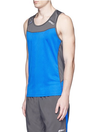 Front View - Click To Enlarge - 2XU - 'Ice X Singlet' colourblock performance tank top