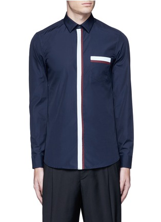 Main View - Click To Enlarge - KENZO - Contrast placket trim cotton shirt