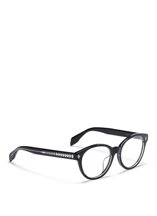Figure View - Click To Enlarge - ALEXANDER MCQUEEN - Floating skull stud acetate round optical glasses