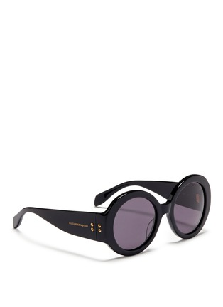Figure View - Click To Enlarge - Alexander McQueen - Round acetate thick rim sunglasses