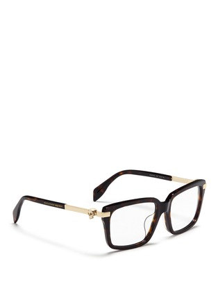 Figure View - Click To Enlarge - Alexander McQueen - Skull stud tortoiseshell acetate optical glasses