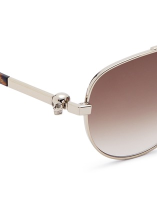Detail View - Click To Enlarge - Alexander McQueen - Skull wire rim aviator sunglasses