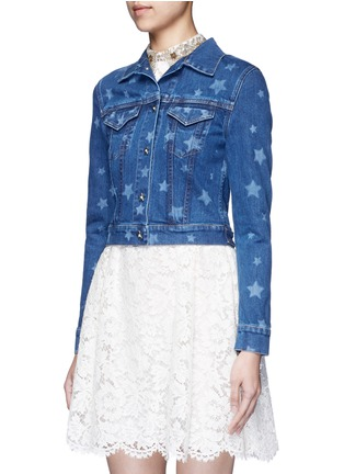 Front View - Click To Enlarge - VALENTINO - Star print denim jacket