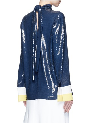 Back View - Click To Enlarge - Emilio Pucci - Stripe cady cuff sequin crepe top