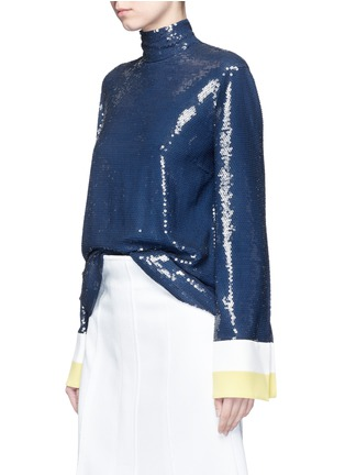 Front View - Click To Enlarge - Emilio Pucci - Stripe cady cuff sequin crepe top