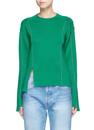 Main View - Click To Enlarge - Ports 1961 - Asymmetric patchwork knit sweater