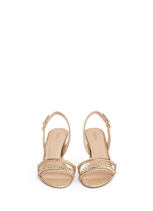 Front View - Click To Enlarge - Michael Kors - 'Jackie' chain strap metallic leather slingback sandals