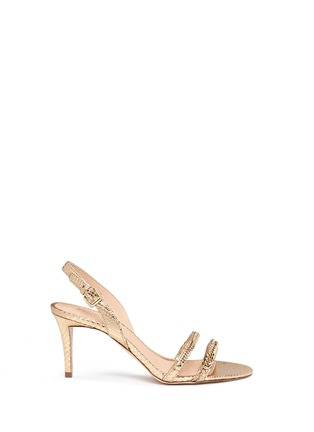 Main View - Click To Enlarge - Michael Kors - 'Jackie' chain strap metallic leather slingback sandals