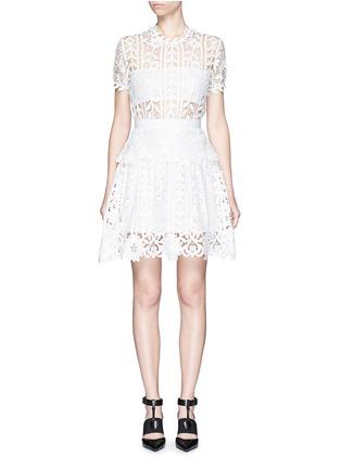 Main View - Click To Enlarge - self-portrait - Floral satin lace A-line dress