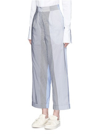 Front View - Click To Enlarge - Ports 1961 - Mix patchwork stripe poplin wide leg pants