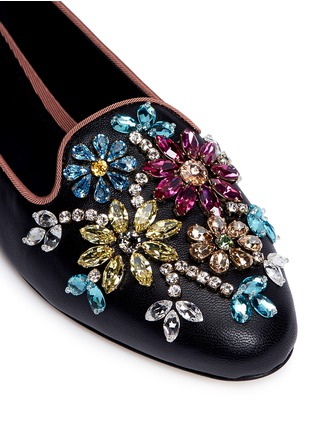 Detail View - Click To Enlarge - Dolce & Gabbana - Crystal vamp leather slip-ons