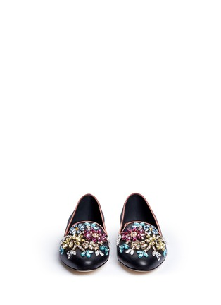 Front View - Click To Enlarge - Dolce & Gabbana - Crystal vamp leather slip-ons