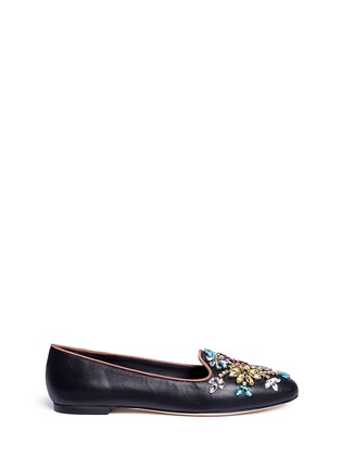 Main View - Click To Enlarge - Dolce & Gabbana - Crystal vamp leather slip-ons