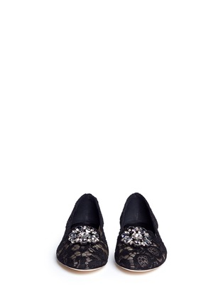 Front View - Click To Enlarge - Dolce & Gabbana - Jewel brooch Taormina lace flats