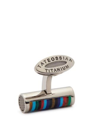 Detail View - Click To Enlarge - Tateossian - 'Bamboo Cylinder Stripe' gemstone inlay titanium cufflinks