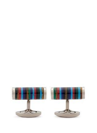 Main View - Click To Enlarge - Tateossian - 'Bamboo Cylinder Stripe' gemstone inlay titanium cufflinks