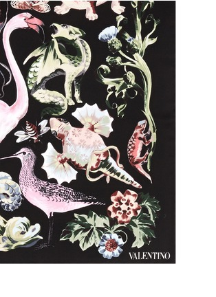 Detail View - Click To Enlarge - VALENTINO - 'Fantastic Animals' print silk twill scarf