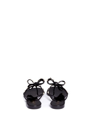 Back View - Click To Enlarge - VALENTINO - 'Rockstud' bow flat jelly sandals