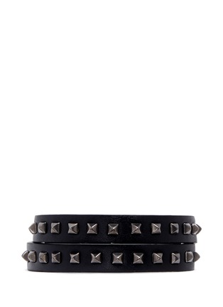 Main View - Click To Enlarge - VALENTINO - 'Mini Rockstud' double wrap leather bracelet